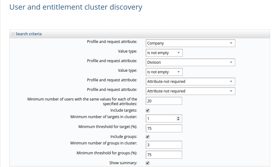 Cluster analysis of identities and entitlements: search