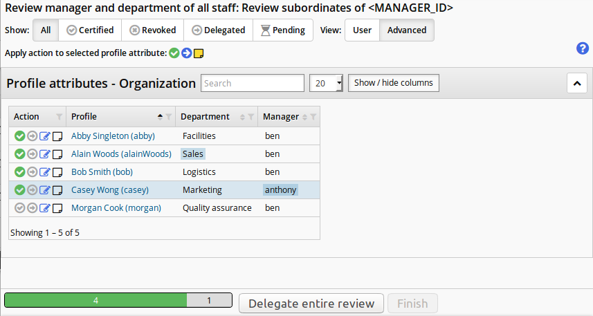 Highlight which attributes have been modified in the review