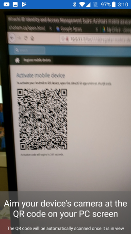 Activating Mobile Access by scanning a QR code on the PC