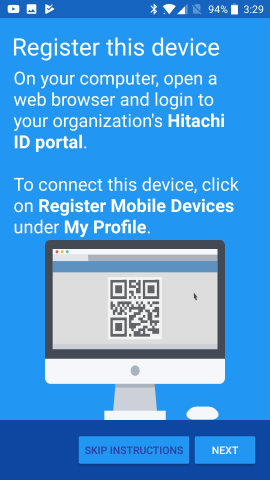 Initial launch -- prior to enrolling a user profile with Mobile Access