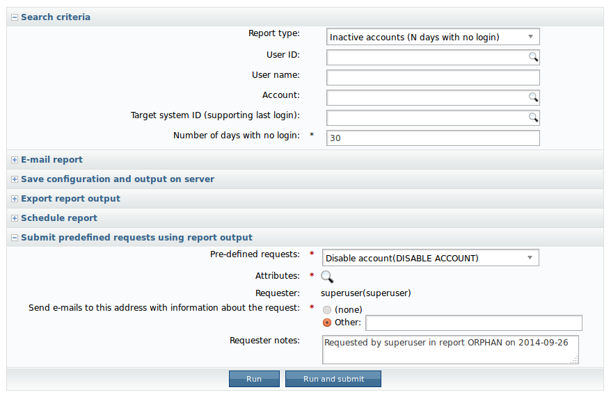 Screen shot: actionable analytics -- report output to request input