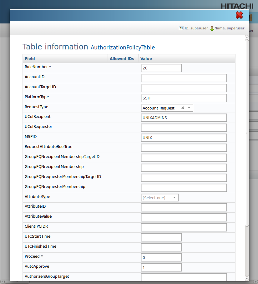 Screen shot: Privileged Access Manager reference configuration - authorization policy rule