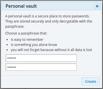 Set passphrase on personal password vault
